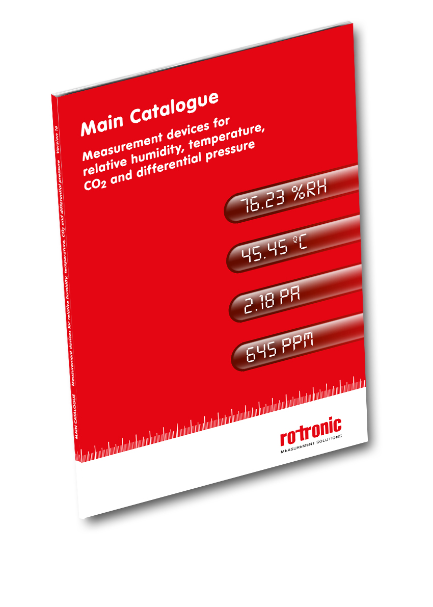 "New catalogue available now ""Measurement Devices for humidity, temperature, CO2 and differential pressure""."