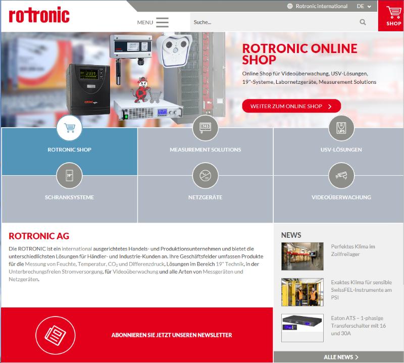 Adaptatif et clairement organisé : le nouveau site Web de Rotronic