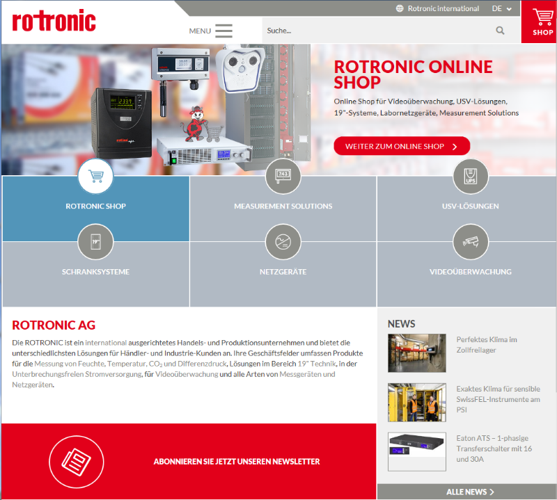 Responsive and clear: Rotronic's new website