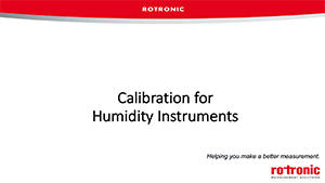 Calibration for Humidity Instruments