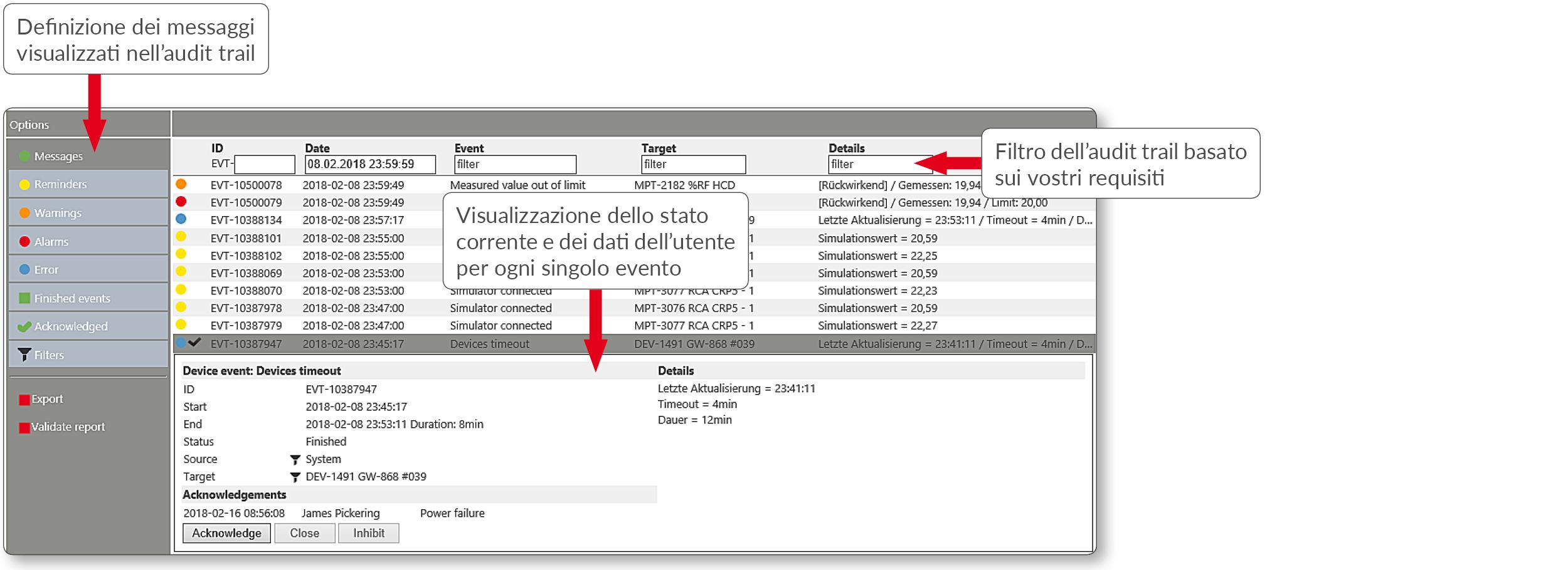 Monitoring System - Visualizzazione dell'audit trail