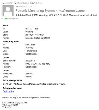Monitoring System - Alarme par courriel
